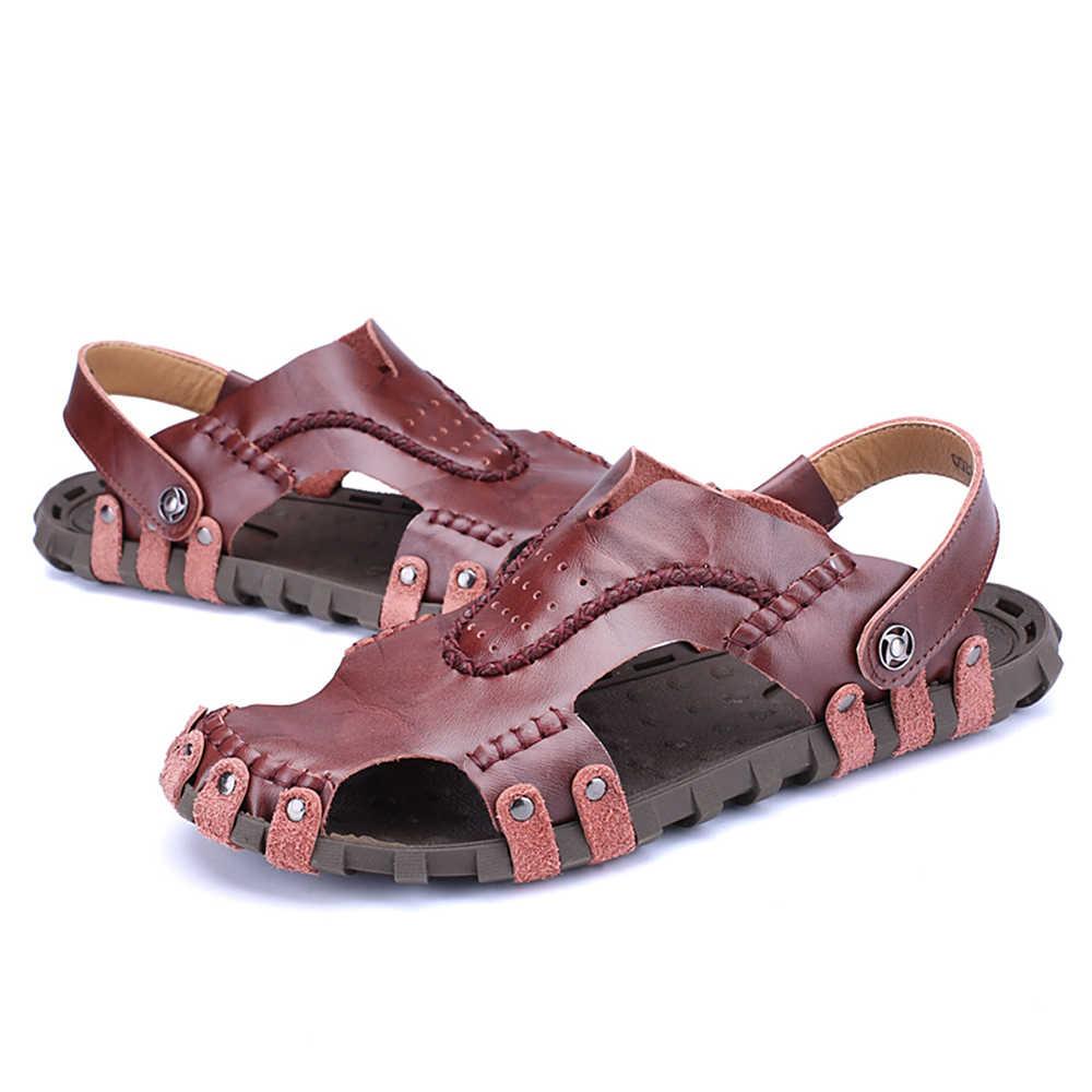 ALCUBIEREE Erkekler rahat ayakkabılar Sandalet Rahat Havalandırma Sandalet Marka Erkekler için rahat ayakkabılar Yaz Deri Spor Erkekler için