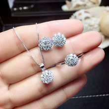 Видео! 6,5 мм, Moissanit, бриллиант, s925 Стерлинговое Серебро, Модные Ювелирные наборы для женщин, свадебные, с белым драгоценным камнем