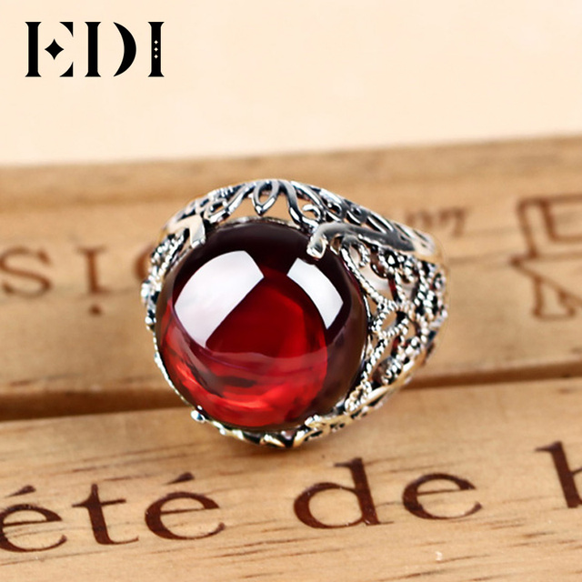 EDI Luxury Vintage 100% 925 Silver Garnet Gemstone Rings Fashion  Round Resizeble Ring To Women Power Queen Noble Jewelry Ring