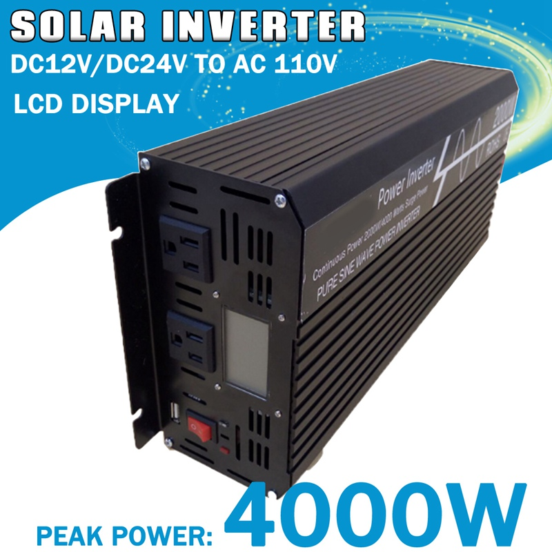 цена на Peak 4000W 2000w Pure Sine Wave Solar Inverter DC12V/DC24V to AC110V/220V OFF Inverter for Solar System w/LCD Digital Display