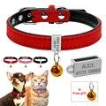 Collar de perro acolchado personalizado gato perros nombre ID grabado gratis collares para mascotas Chihuahua Teddy rojo rosa XS S