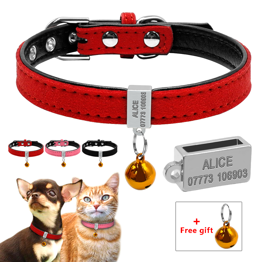 Custom Padded Dog Collar Personlige Cat Dogs Navn ID Gratis Gravering Pet Collars For Chihuahua Teddy Red Pink XS S