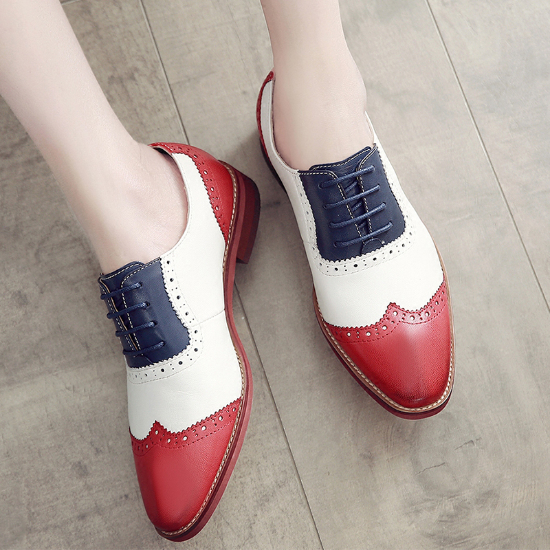 Genuine leather brogues yinzo flats shoes woman vintage handmade sneakers red brown yellow oxford shoes for