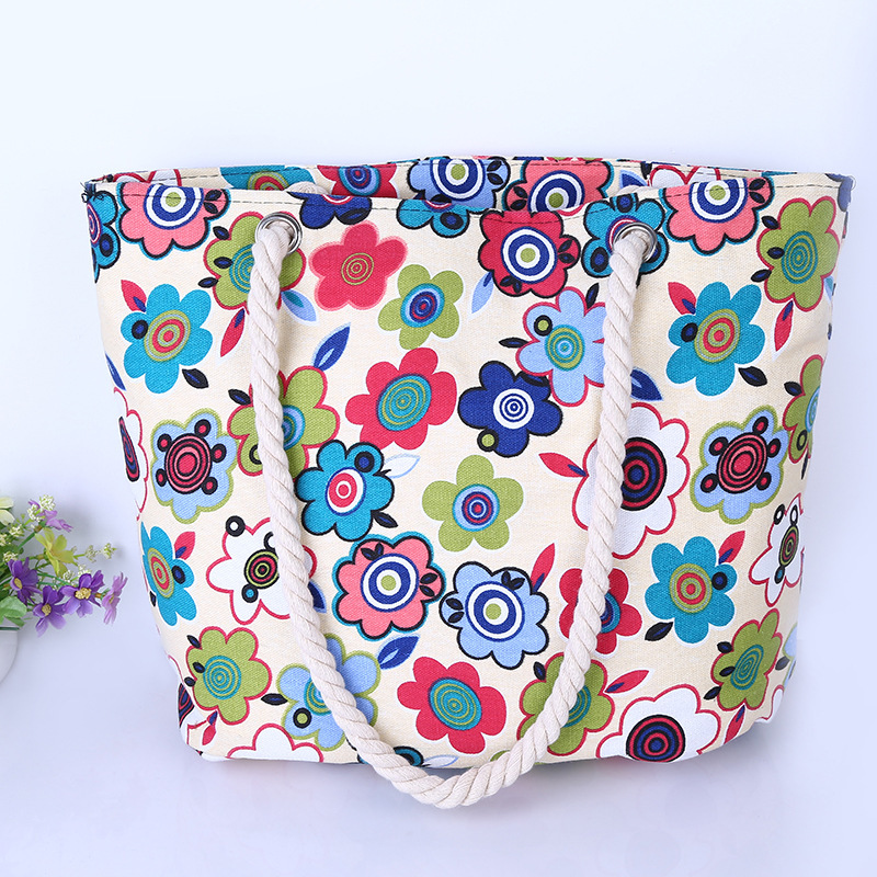 New Floral Printing Bag Women Handbags Canvas Lady Shoulder Bags Large Tote Ladi Fashion Bag Brand 2017 Woman Beach Handbag aosbos fashion portable insulated canvas lunch bag thermal food picnic lunch bags for women kids men cooler lunch box bag tote