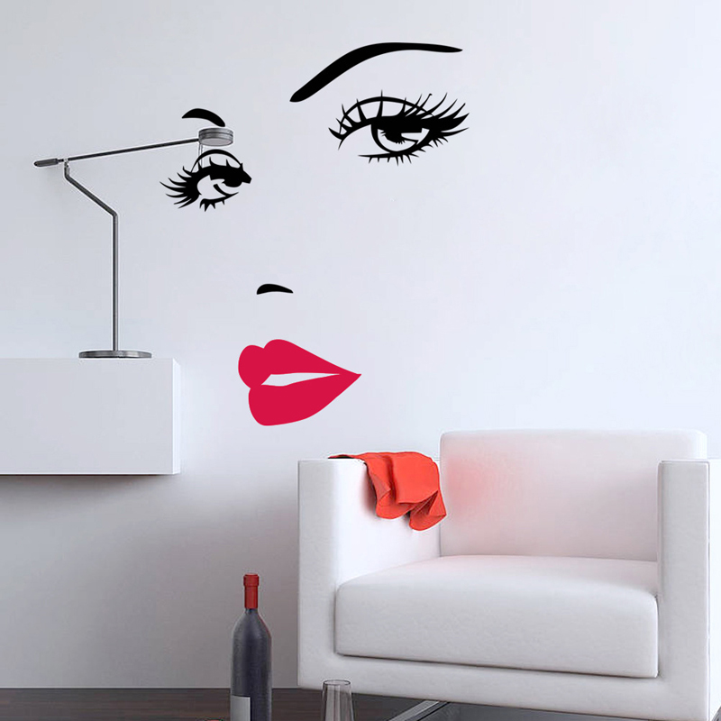 2pc 3d Vinyl Walls Diy Beautiful Face Eyes And Lips Wall Sticker