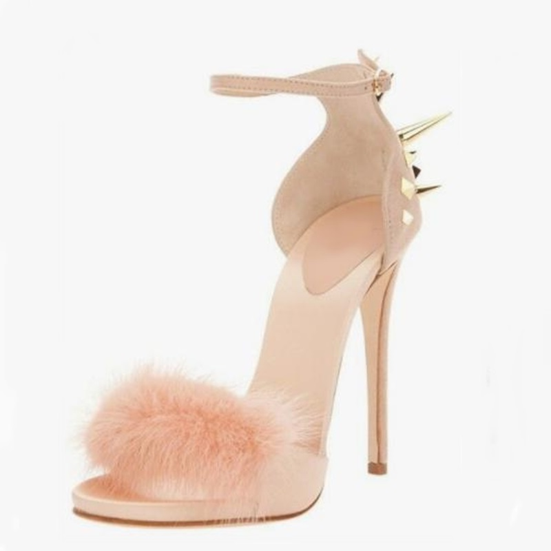 Sexy Rivet High Heels Sandals Woman Summer Dress Shoes Cut-out Ankle Strap Fur Sandals Hot Selling Lady Party Dress Shoes