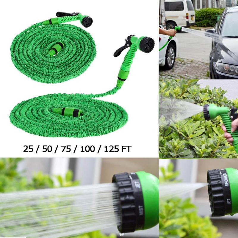 25FT-150FT Flexible Garden Hose Expandable Water Pipe Watering Spray Gun Set Car with Kit