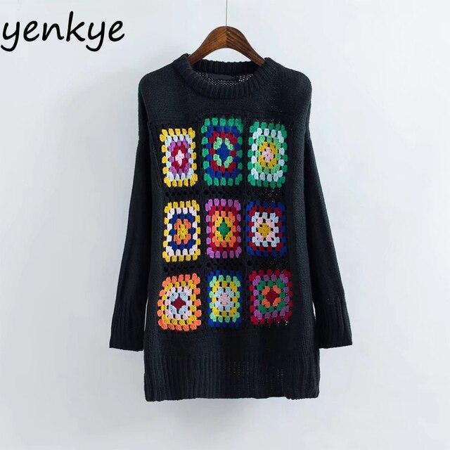 Otoño de Las Mujeres de Gran Tamaño Suéter de Punto Multicolor ...