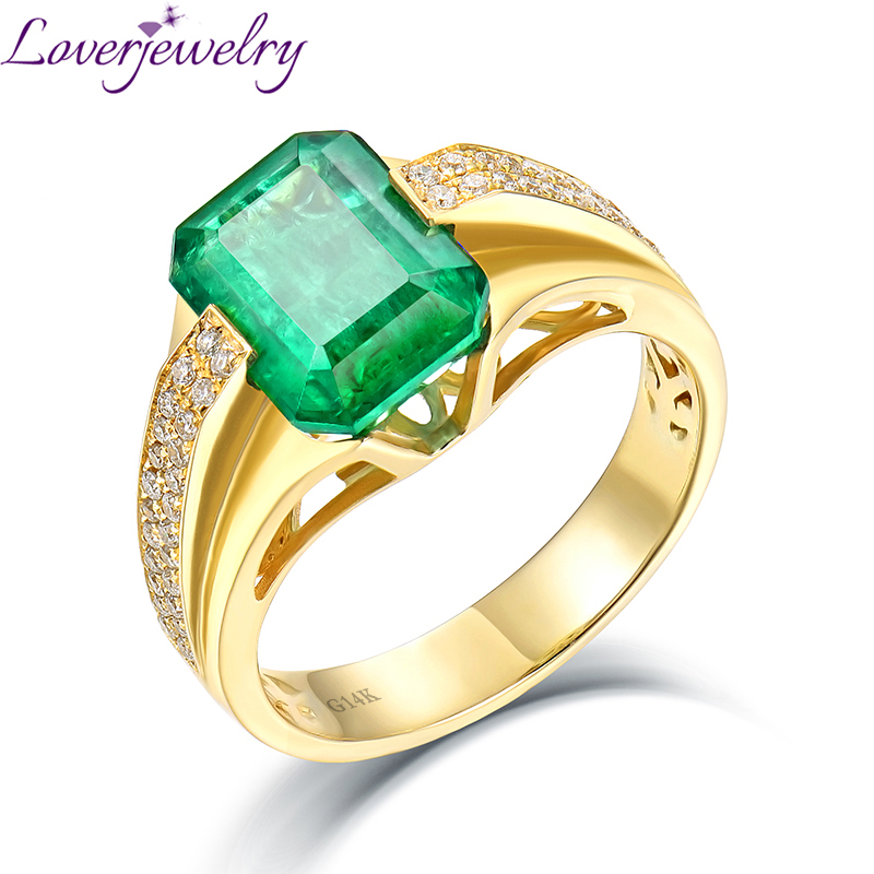 Luxurious Natural Colombia Emerald Men s Ring Real 14K Yellow Gold