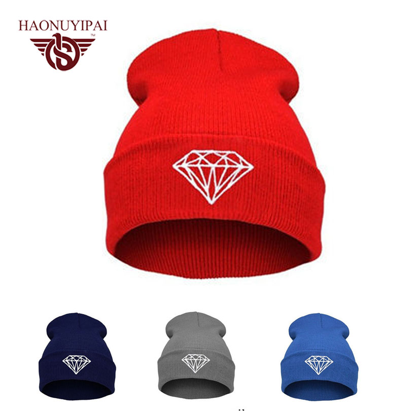 Hot style Diamond Bling Knit Hat  Autumn Winter Hats Skull Style Skullies & Beanies For Woman And Man Hip Hop Men Cap Gorras