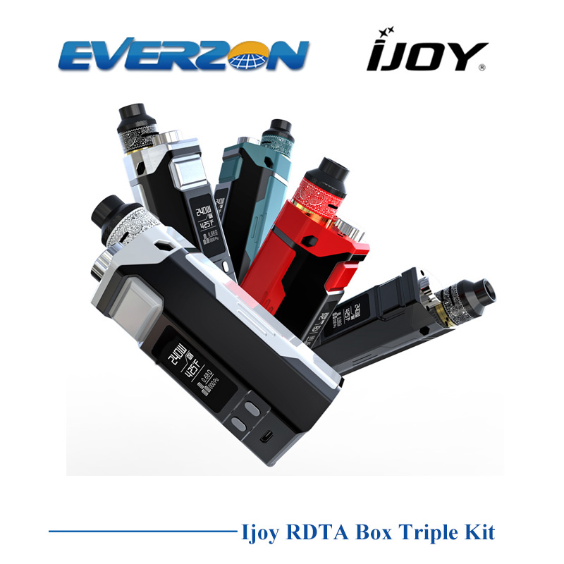 Preorder Original IJOY RDTA BOX TRIPLE KIT with 12.8ml Tank Atomizer powered by 18650 Battery fit IJOY COMBO RDTA E Cig Kit original ijoy combo rdta tank huge vapor electronic cigarette atomizer 25 mm diameter 6 5 ml e liquids capacity pre made coils