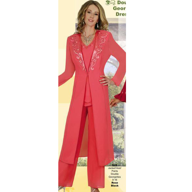 Elegant Plus Size Mother Of The Bride Pant Suit With Long Jacket ...
