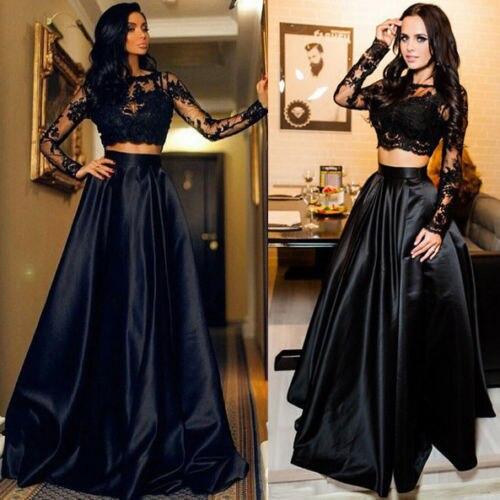 Women Lace Long Sleeve Maxi Dress Evening Party Black Sexy Formal Dress 2pcs