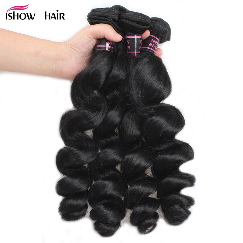 Ishow Hair 4 Bundles Loose Wave Brazilian Hair Weave Bundles Natural Color Non Remy Hair Extensions