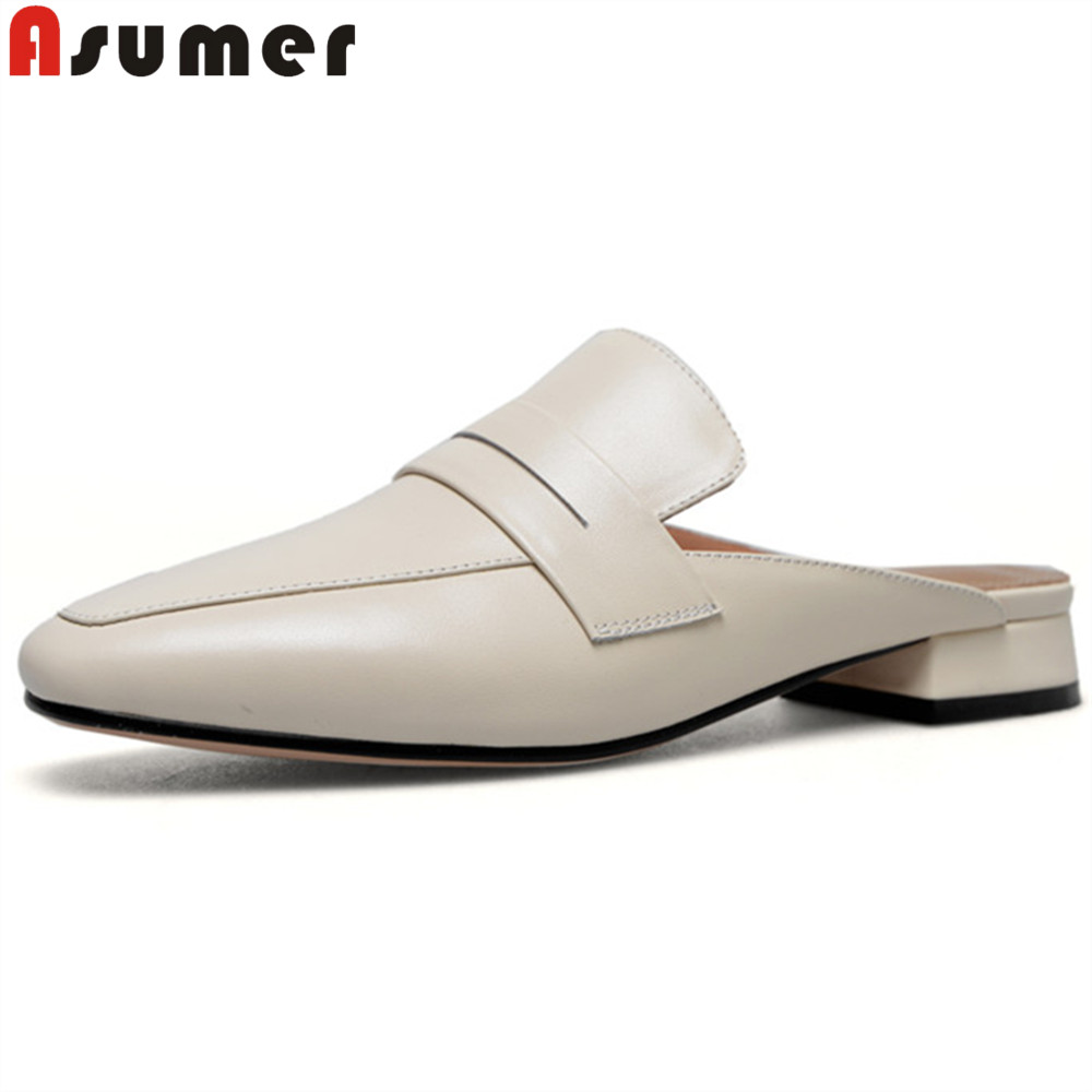 ASUMER 2018 spring summer shoes woman square toe shallow casual mules shoes low heels suede leather slippers square heel 2018 spring summer low heel sandals pointed toe shallow mouth women shoes woman cozy casual shoes leisure single ladies shoes cy