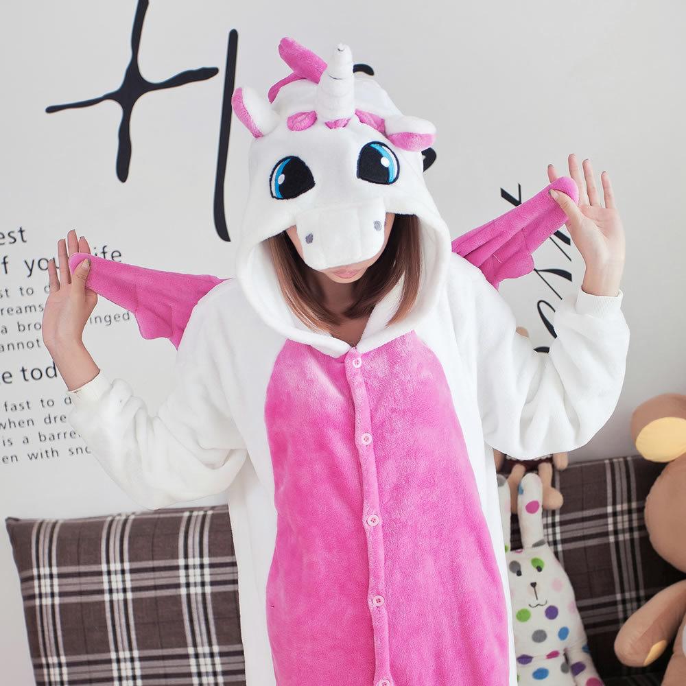 Фланелевые розовые зимние пижамы с единорогом женские зимние пижамы с героями мультфильмов костюм с животными для взрослых купить на AliExpress