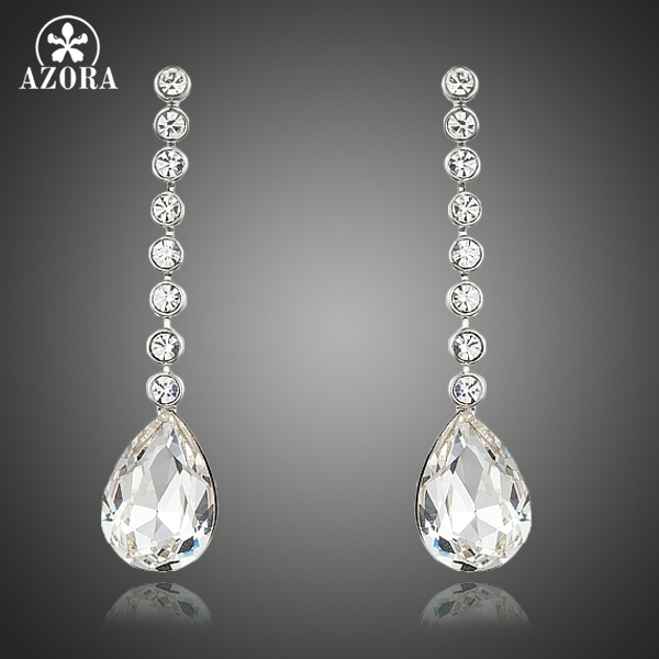 AZORA Dangling Elegant Clear Stellux Austrian Crystal Water Drop Wedding Earrings for Women TE0244