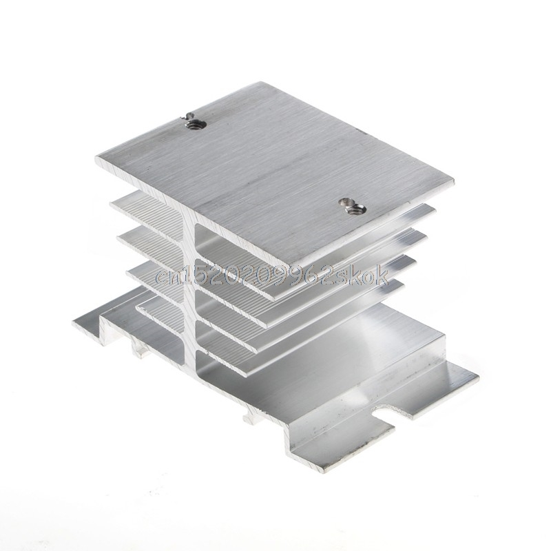 1Pc Single Phase Solid State Relay SSR Heat Sink Aluminum Dissipation Radiator #H029# ssr 40da single phase solid state relay white silver