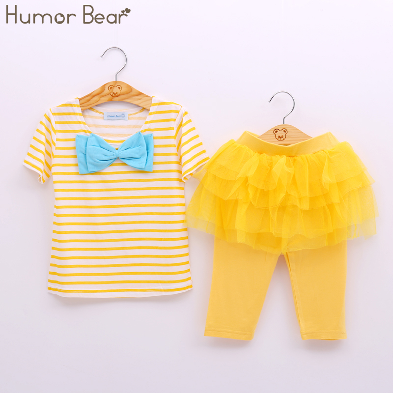 Humor Bear Kids Set Fashion Style Summer Set Short Sleeve Suit Children Clothing T Shirt+Pants Baby Girls Clothing SET