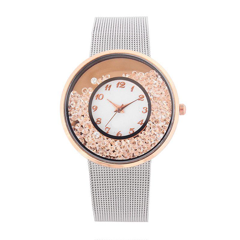 8ed4cdfc0639 Reloj Faux cuarzo plateado redondo clásico de los cristales de las mujeres  de las señoras relojes oro siver Rose rojo