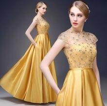 2015 neue Goldene brocade langen rock kurzarm spitze stickerei mode abendkleid