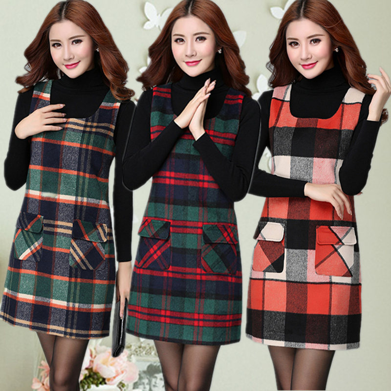 Fall and winter clothes plaid dress sleeveless woolen vest Korean Slim women long section bottoming tide