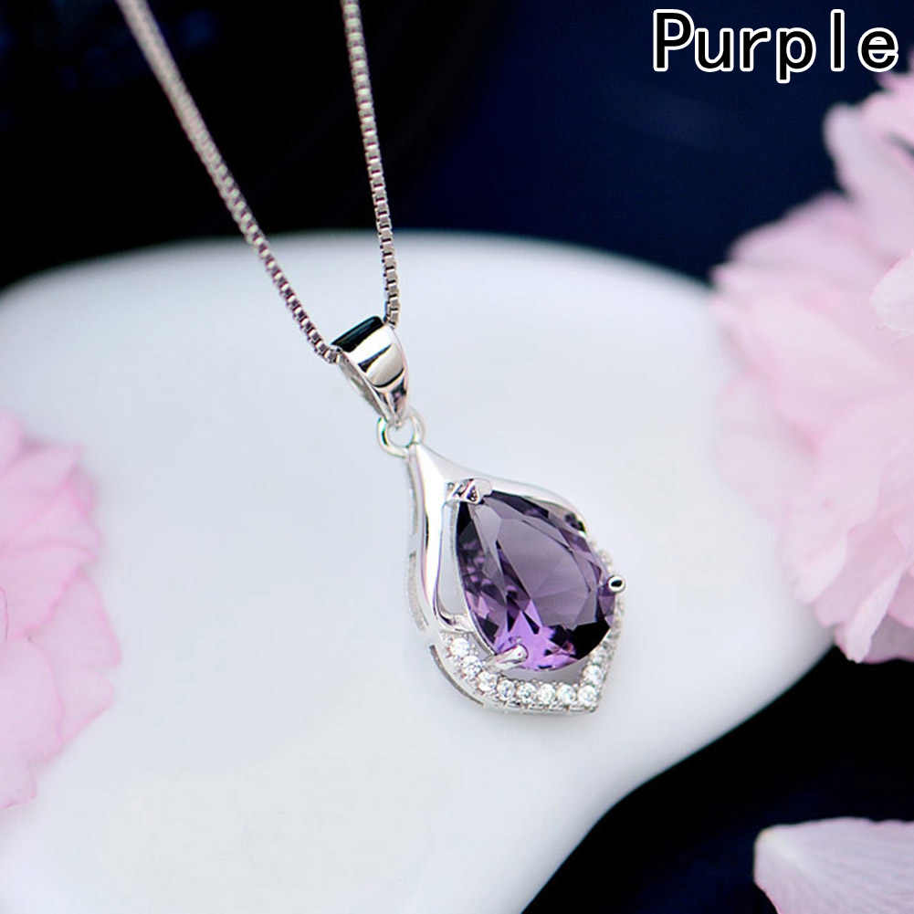 Withiout цепь Новый стильный натуральный серебристый цвет фиолетовый цвет любовь навсегда падение водный кулон Модные украшения
