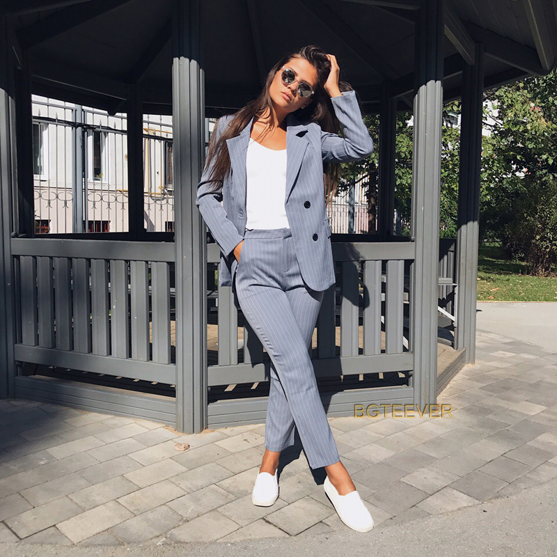 Work Pant Suits OL 2 Piece Sets Double Breasted Striped Blazer Jacket & Zipper Trousers Suit For Women Set Feminino Spring Платье