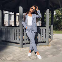 Trajes de pantalón de trabajo OL 2 piezas conjuntos de chaqueta de rayas de doble botonadura y pantalones con cremallera para mujer conjunto femenino primavera