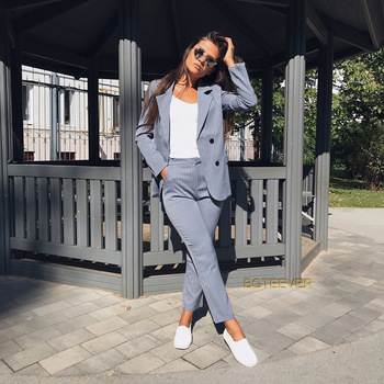 Work Pant Suits 2 Piece Sets Double Breasted Striped Blazer Jacket & Zipper Pant Office Lady Suit Women Outfits Autumn plus size women in overalls