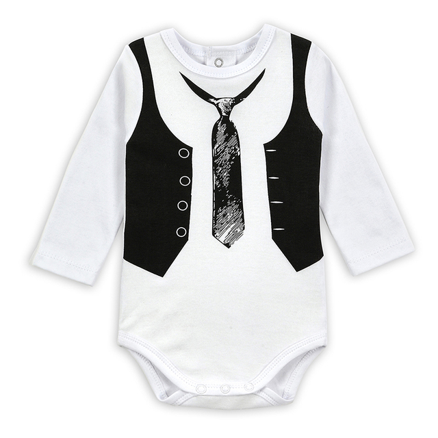 1b2e586398b4 Baby Romper 2017 New Infant Jumpsuit Long Sleeve Body Baby Boy Gentleman  100% Cotton Baby