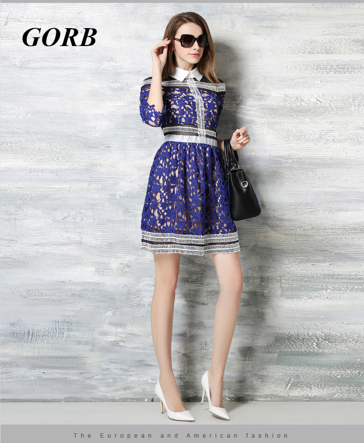 GORB 2018 Spring Hot Sale Fashion Blue Women Turn-down Collar Runway Good Quality Ladies Hollow Out Lace Dress In Stock XXL