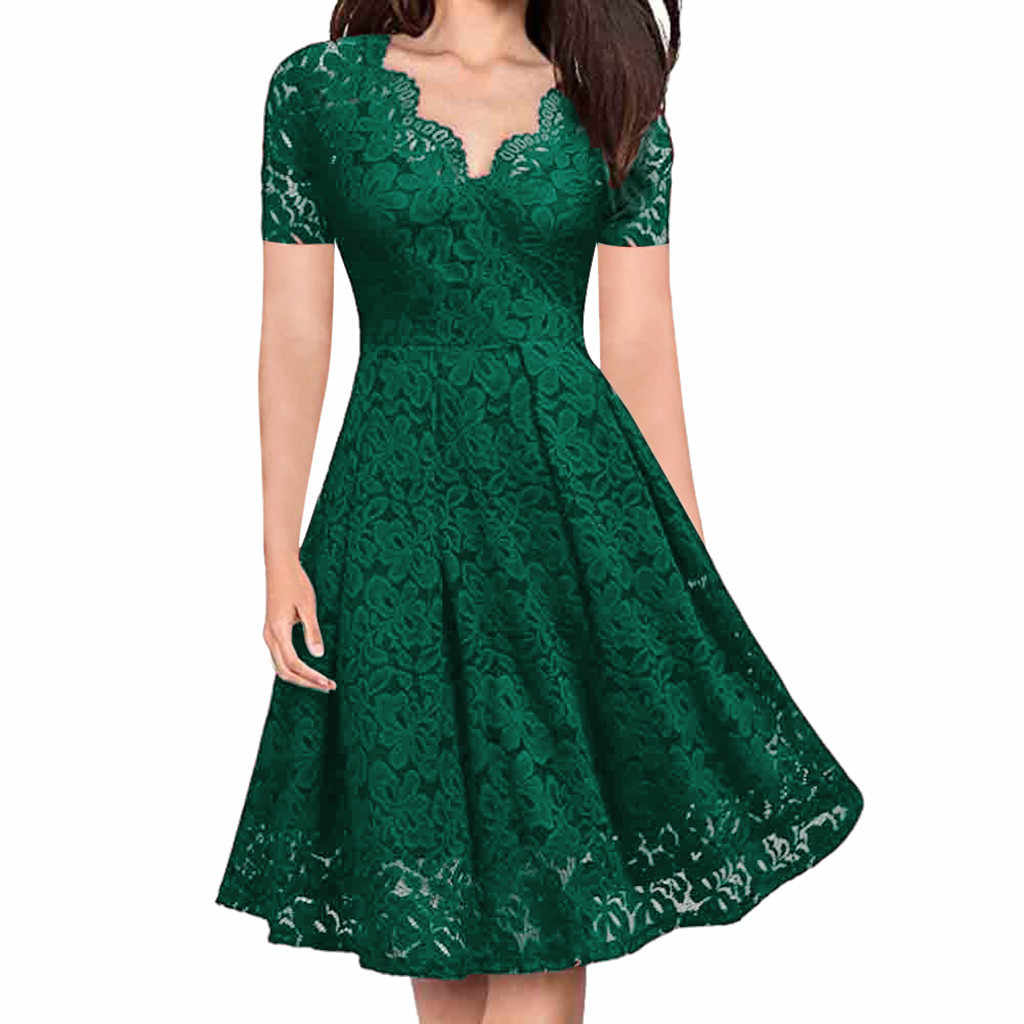 2019 newWomen's elegant sexy lace V-neck short-sleeved strapless dress free express 3.16