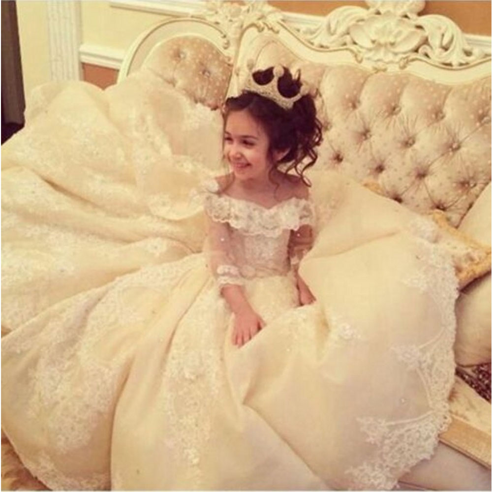 Luxury Lace Champagne Organza   Flower     Girl     Dresses   With Three Quarter Sleeve Kids Beauty Pageant Ball Gowns For   Girls   Vestidos