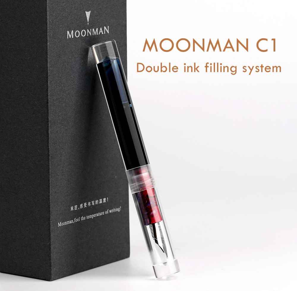 MOONMAN C1 Transparent Acrylic Fountain Pen F Nib Converter Dropper Writing #w1