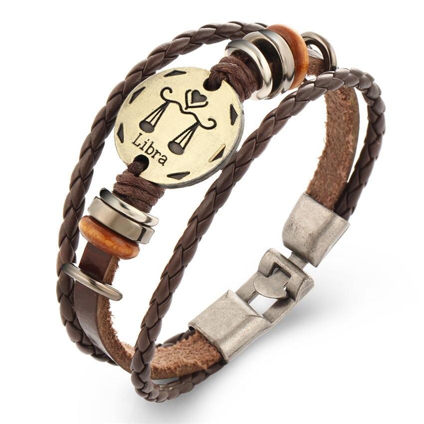 Vintage 12 Constellations Bracelet for women Fashion Jewelry Leather Bracelet Men Zodiac ...