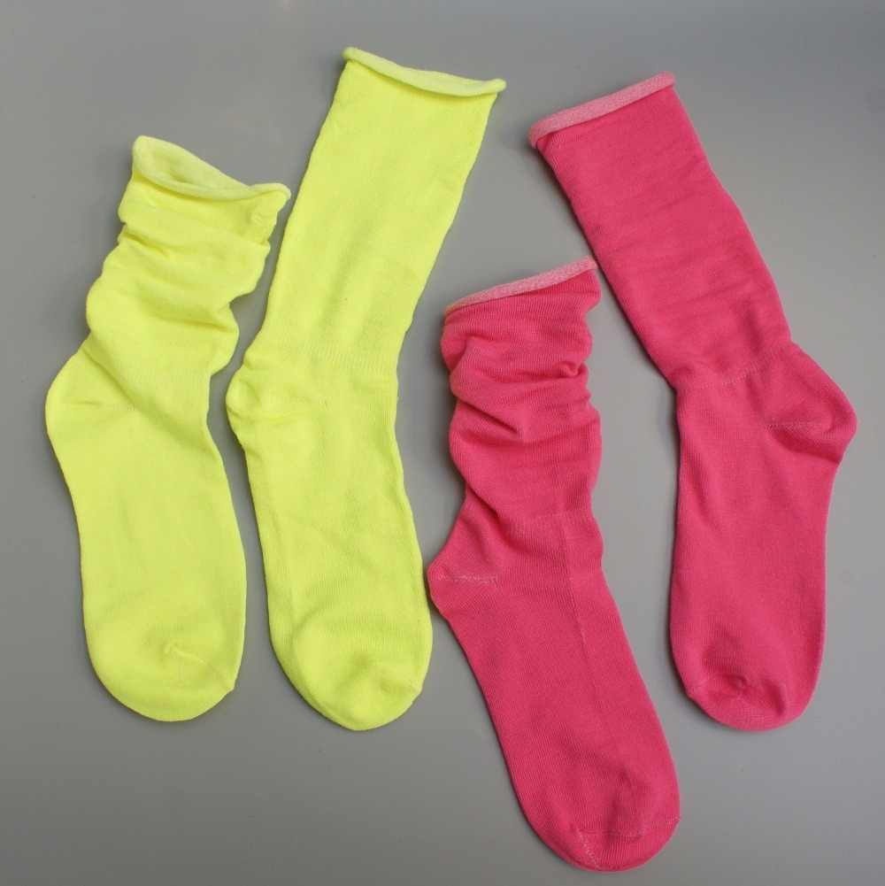 18db93176bb ... 2 pairs neon colors women crew Socks Girls retro sock candy pure colors  ...