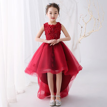 Wine Red Flower Girl Dresses for Wedding Princess Girls Prom Gowns Short  Front Long Back Kids Pageant Dress for Birthday Costume 0d34382afca3