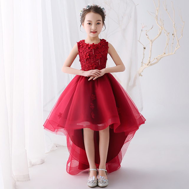 d7f94686e2c Wine Red Flower Girl Dresses for Wedding Princess Girls Prom Gowns Short  Front Long Back Kids Pageant Dress for Birthday Costume