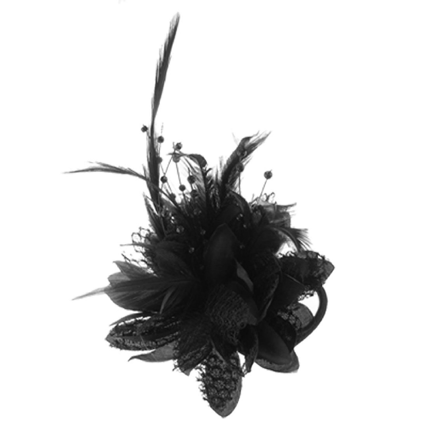 Flower Design Feather Decor Hair Band Tie Safety Pin Brooch Black