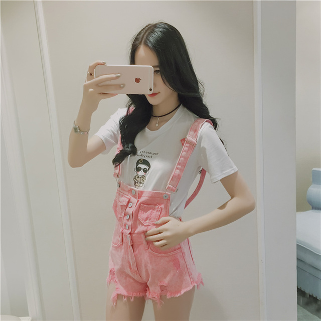 Women Fashion Summer Neon Pink Playsuit Denim Ripped Romper Playsuit Short Pants Suspender Overall for Ladies with Pockets