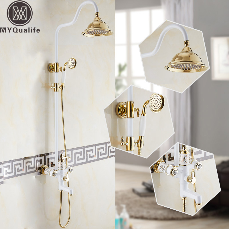 Modern Two Handles 8 Rainfall Shower Faucet Mixer Tap In-wall White & golden Tub Spout and Handshower Bath Shower Mixer Tap