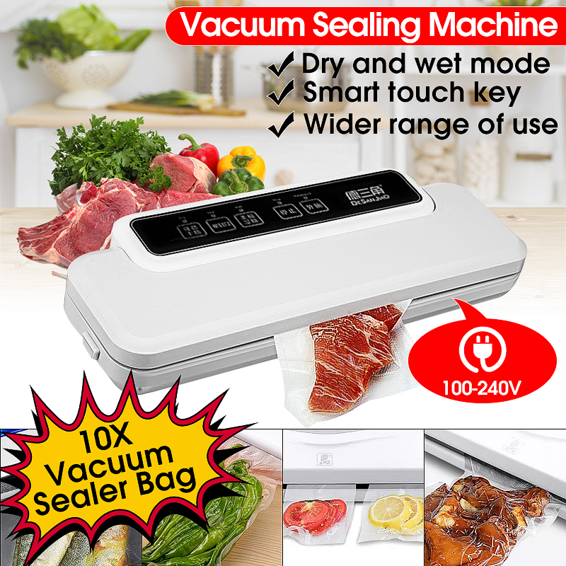 110V-240V Household Food Vacuum Sealer Electric Packaging Machine Film Sealer Vacuum Packer Sealing Dry Wet Food with 10Pcs Bags110V-240V Household Food Vacuum Sealer Electric Packaging Machine Film Sealer Vacuum Packer Sealing Dry Wet Food with 10Pcs Bags