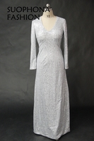 New Arrival V Neck Sequined Lace Evening Dress 2017 Silver Long Sleeve Evening Dresses Plus Size