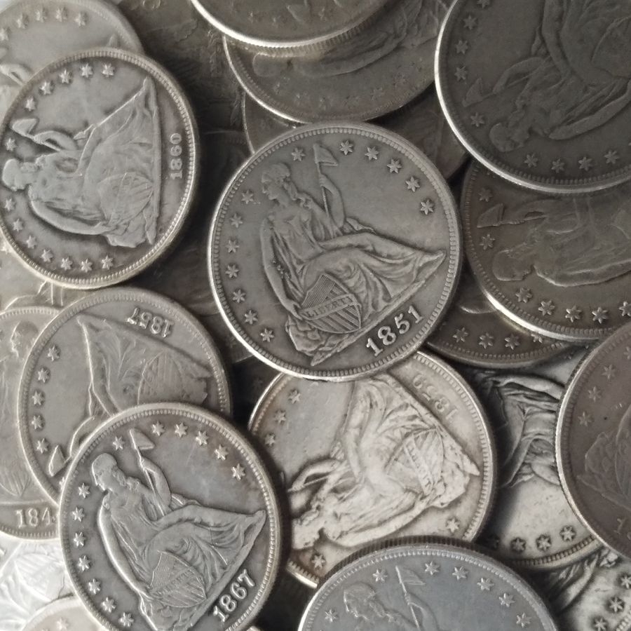 Seated Liberty Dollars 34PCS P (1840-1873) Silver-Plated USA Coins Copy
