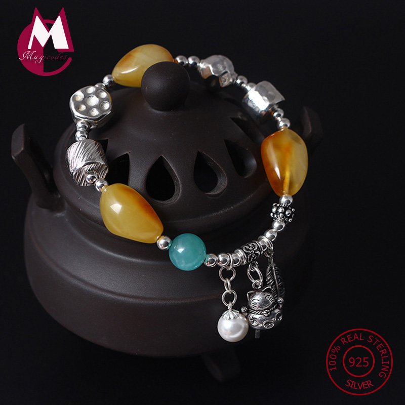 NEW S925 Sterling Silver Bracelet For Women Natural Amber DIY Beads Bracelets & Bangles Lucky Cat Tassel Feather Jewelry YB35 s925 sterling silver bell lucky red rope bracelet handmade bracelets wax string amulet jewelry 1383