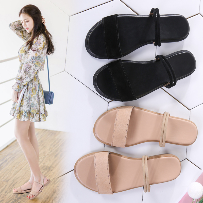 Sandals female 2019 summer new flat-bottom fairy wind one shoes two wear fashion wild soft bottom wear sandals(China)