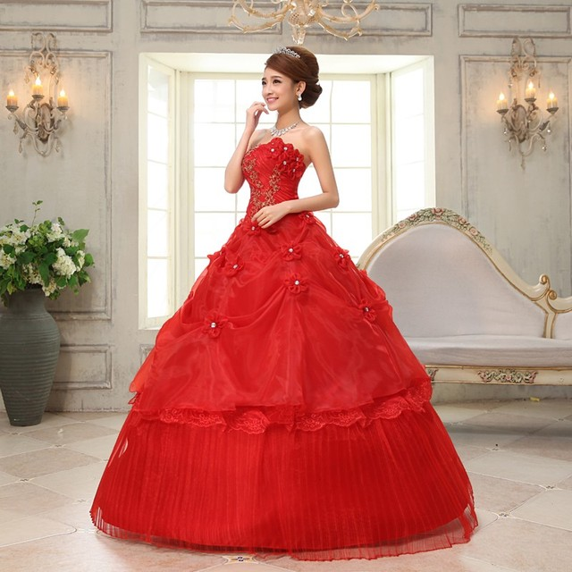 Real Photo vestido de noiva de 2017 New Koreal Style Flowers Strapless Pink Red Princess bridal Wedding Dress Lace Up Ball Gown 5