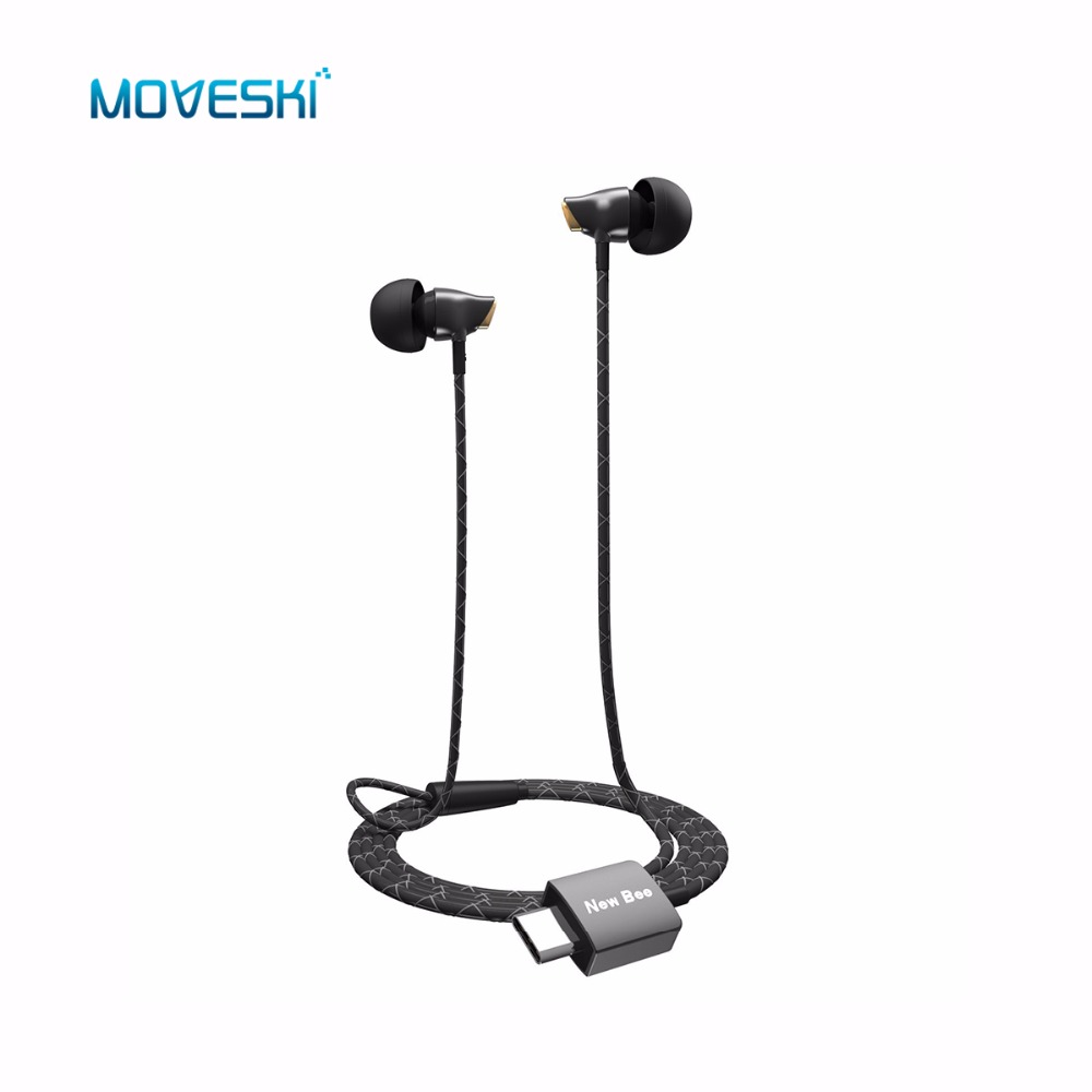 Moveski USB Type-C In-Ear Ceramic Stereo Earphone ANC Wire Control Headset Type C Digital Earphone Earbuds For Sumsang Huawei usb type c metal hi fi stereo earphones wired control type c earbuds for huawei google moto z letv leeco le max 2 pro htc phone