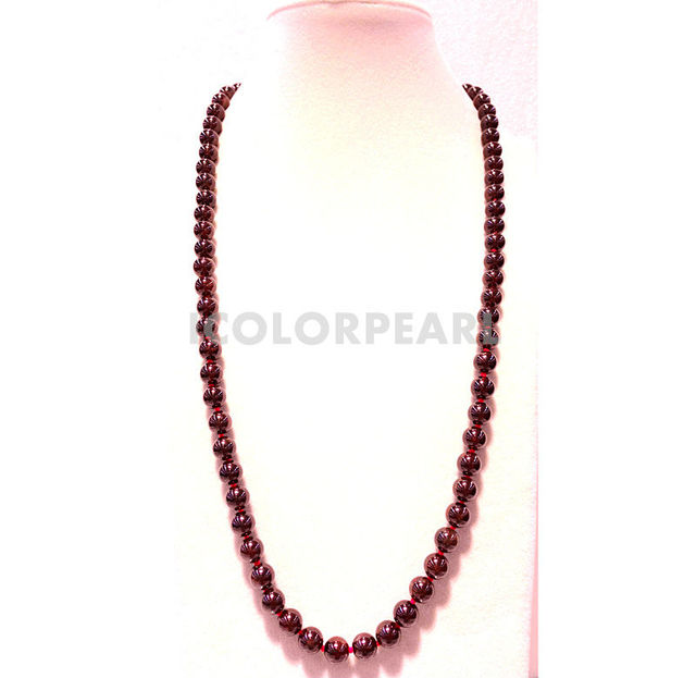 65CM High Quality 8mm Round Natural Garnet Necklace With A Nice Pop Round Silver Pplated Clasp